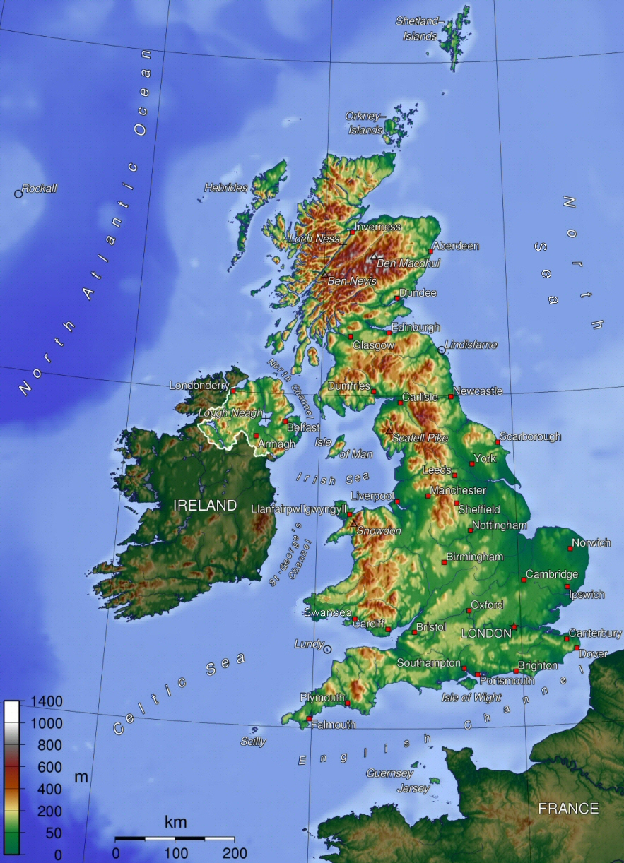 And Human Geography Of The Uk - Topographic map of united kingdom