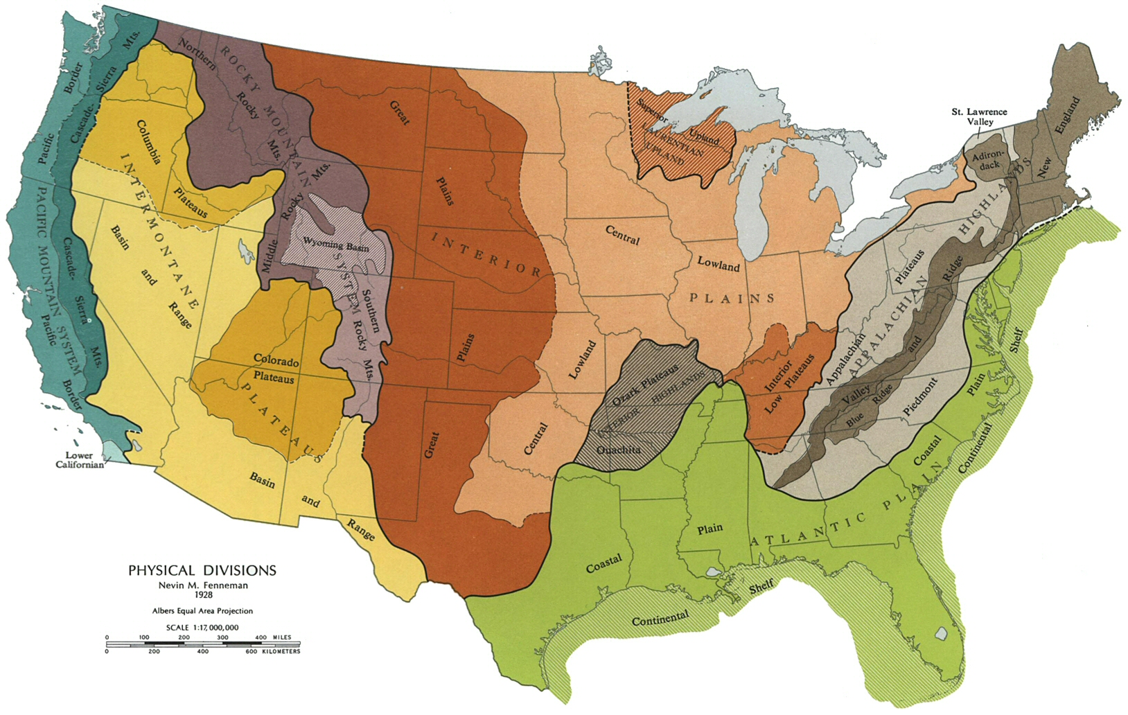 the continental us that all the major dividing lines are oriented in a north south direction there are three mountain ranges the appalachian mountains